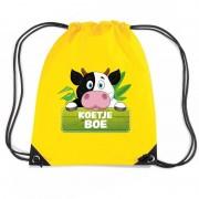 Shoppartners Koetje Boe koeien rugtas / gymtas geel voor kinderen
