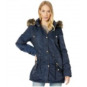 YMI Snobbish Faux Fur Lined Parka with Faux Fur Trim Hood Navy