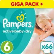 Pampers pelene Active Baby 6 Extra Large, 66 kom