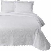 Set de cuvertura de pat Valentini Bianco cu 2 fete de perna din bumbac jackard model Fust 045 Alb