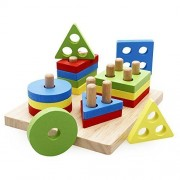 Rolimate Wooden Educational Preschool Shape Color Recognition Geometric Board Block Stack Sort Chunky Puzzle Toys