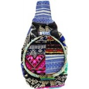 mukhray White Stone Handcrafted Multicolor cotton embroidered With Woolen Work Backpacks Unisex Fashionable Bag,Shoulder Pittu Bag With Adjustable Strap 10 L Backpack(Multicolor)