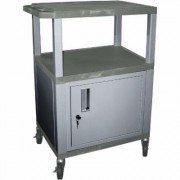Wilson Tuffy Utility Cart with Locking Cabinet - 300-Lb. Capacity, 34Inch H, Gray/Nickel, Model WT34GYC4E-N