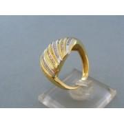 Zlatý dámsky prsteň v žltom bielom zlate zdobený kamienkami DP58792V