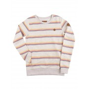 Kazane Daven Sweater : oatmeal+multi color strip - Size: Medium