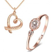 Om Jewells Rose Gold Plated Lovely Valentine Combo of Heart Pendant and Bracelet with Crystal stones for girls CO1000116