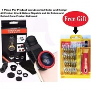 Mobile camera Lens 3 in 1 with free Toll Kit (Assorted Color )