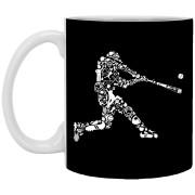 Baseball Player Doodle Art - 11 oz. White Mug - 8
