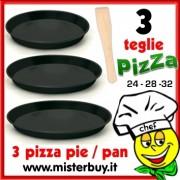 TRIS TEGLIE TONDE ANTIADERENTI PIZZA 24 / 28 / 32 cm