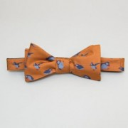 40 Colori - Puffins Printed Silk Butterfly Bow Tie - NAVY - Orange/Blue/Green