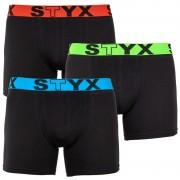 Styx 3PACK pánské boxerky Styx long sportovní guma černé (U9646566) XXL