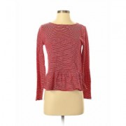 J.Crew Factory Store Long Sleeve Top Red Print Crew Neck Tops - Used - Size Small