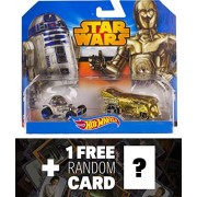 R2-D2 & C-3P0 1:64 Die-cast Vehicle: Star Wars x Hot Wheel Series + 1 FREE Official Star Wars Trading Card Bundle