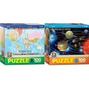 Kids Science and Geography Puzzle Set - Two 100 Piece Jigsaw Puzzles - World Map and The Solar System