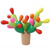 Jucarie educativa din lemn de construit si echilibrat Cactus, 28 de piese