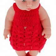 """Magideal 11"""" Lifelike Baby Dolls Silicone Vinyl Soft Newborn Doll in Red Knit Suit"""
