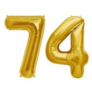 Stylewell Solid Golden Color 2 Digit Number (74) 3d Foil Balloon for Birthday Celebration Anniversary Parties
