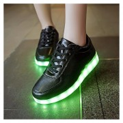 Zapatillas Unisex Con Luces 7 Colores Recargable USB Tenis Led -Negro
