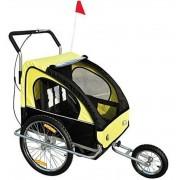 Aosom Remolque Bicicleta Amarillo Y Negro Acero Oxford Aosom 18m+