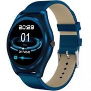 Ceas Smartwatch iUni N3 Plus Curea Piele BT 1.3 Inch IOS si Android Blue Bonus Bratara Roca Vulcanica unisex