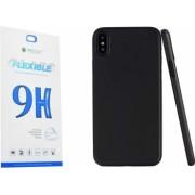 Set Husa Spate Upzz Ultra Slim iPhone Xs Negru Silicon Matte Si Folie Nano Glass Flexible 9h
