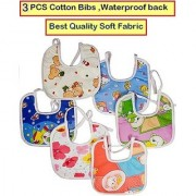 Feeding Baby Bib Knot Style (Multicolor Random Design) Baby/ Infant Feeding Bibs with Waterproof Back 3 PCS CODEly-3900
