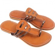 Be You Women Copper One-Toe Strap Flats