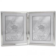 Lawrence Frames 11680D Polished Silver Plate Hinged Double Picture Frame, Bead Border Design, 8x10 inch