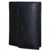 Leather Design Compacte Billfold / Portemonnee met Kaarthoudervak Zwart