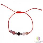 Bratara 5 cristale dragoste 6mm snur rosu cu nod si argint 925