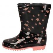 Apollo Zwarte peuter/kinder regenlaarzen roze sterretjes print 24 - Regenlaarzen