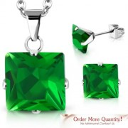 Ezüst színű nemesacél szett, nyaklánc, medál és fülbevaló, Emerald színű cirkónia kristállyal