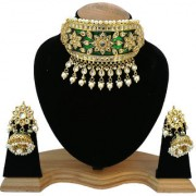 Finekraft Fabulous Meena Kundan Wedding Designer Gold plated Necklace With Earrings Jewelry Set