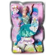 Tienerpop Angela - Blauw jurkje met Vleugels - 30 cm.
