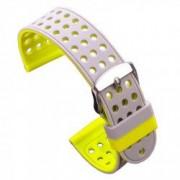 Curea silicon cu doua fete compatibila cu Smartwatch 24mm Gri/Galben