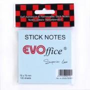 Notes autoadeziv EVOffice 75x75 mm, 100 file, albastru