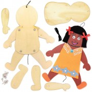 Baker Ross Person Wooden Puppet Kits - 4 Wooden Puppets On String. Wooden Human Marionettes. Size 24cm.