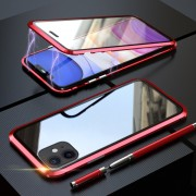 LUPHIE Two-sided Magnetic Adsorption Metal Frame Case for iPhone 11 6.1 inch - Red