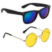 SO SHADES OF STYLE Wayfarer, Round Sunglasses(Black, Yellow)