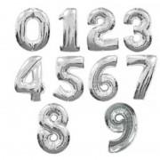 6. szám, fólia lufi, 36 cm, ezüst
