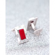 Dare by Voylla Red Stone Silver Plated Milestone Cufflinks
