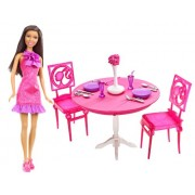 Barbie African-American Doll and Dining Room Gift Set