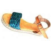 ESTRO Made in Italy Sandalo Zeppa Borchiata Con Fascia Intrecciata - Jeans - - M-2030-19