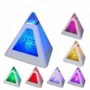 Ceas Piramida Multicolora cu Calendar , Termometru si Alarma