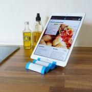 Shop4 - Universele Tablet Multi Stand Houder Keuken Aluminium Blauw voor 7-11 inch tablets