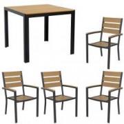 Set gradina terasa masa patrata cadru aluminiu POLYWOOD NATURAL 90x90x74cm cu 4 scaune 60x57x89cm