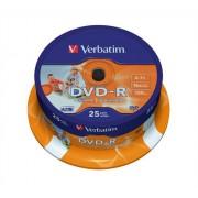 VERBATIM DVD-R lemez, nyomtatható, matt, ID, 4,7GB, 16x, hengeren, VERBATIM