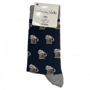 Ponožky bavlněné motiv piva modré vel. 39-42