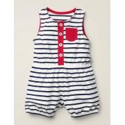 Baby Barboteuse rayée en jersey BLU Bébé Boden, Blue - 6-12m