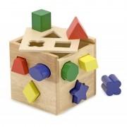 Melissa Doug jucarie educativa tip cub din lemn cu forme de sortat